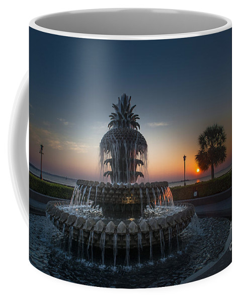 Pineapple Fountain Coffee Mug featuring the photograph Charleston Sunrise by Dale Powell