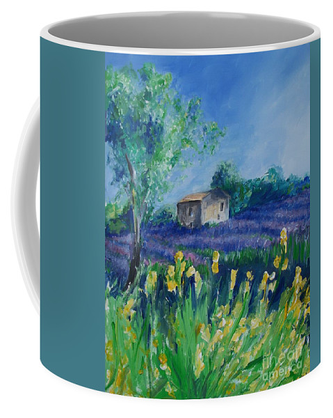 Provence Coffee Mug featuring the painting Provence Lavender Field by Eric Schiabor