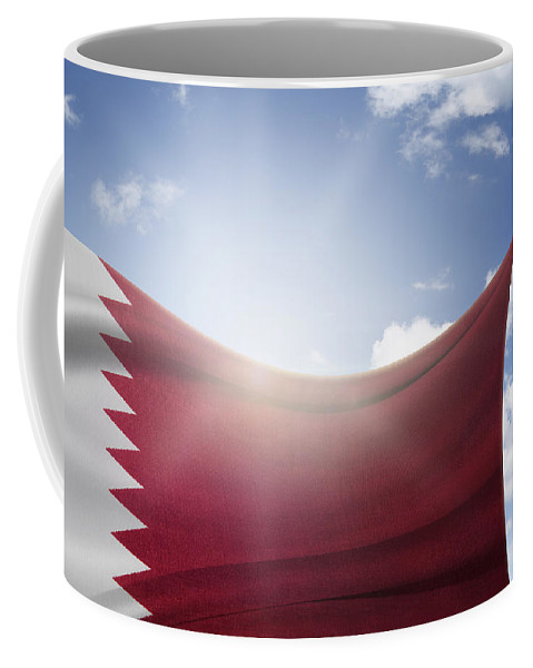 Flag Coffee Mug featuring the photograph Qatar Flag by Les Cunliffe