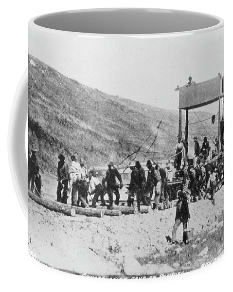 1880 Coffee Mug featuring the photograph Railroad Construction by Granger