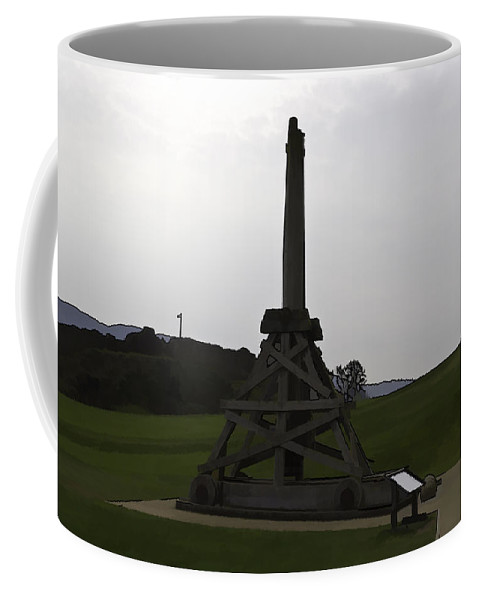 Castle Coffee Mug featuring the digital art Replica Of Wooden Trebuchet And The Ruins Of The Urquhart Castle by Ashish Agarwal