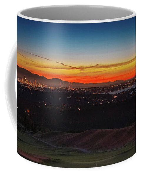 Seattle Coffee Mug featuring the photograph Seattle Skyline Waterfront by Mike Penney