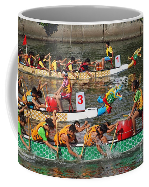 Kaohsiung Coffee Mug featuring the photograph The 2013 Dragon Boat Festival In Kaohsiung Taiwan by Yali Shi