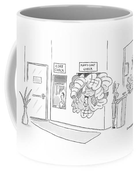 Puffy Coat Check Coffee Mug featuring the drawing New Yorker January 21st, 2008 by Liza Donnelly