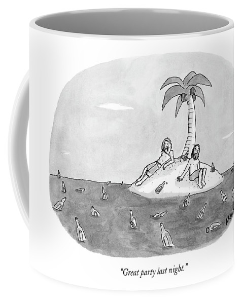 Rescue Drinking Alcohol  Sme Sam Means (two Men On A Desert Island Surrounded By Bottles.) 120672 Coffee Mug featuring the drawing Great Party Last Night by Sam Means