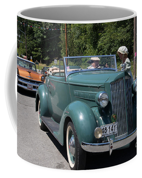 Bowen Island Coffee Mug featuring the digital art Vintage Cars by Carol Ailles