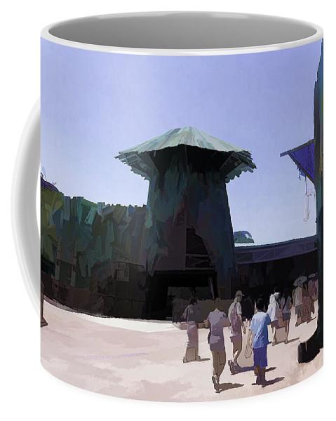 Asia Coffee Mug featuring the digital art Visitors Heading Towards The Waterworld Attraction by Ashish Agarwal