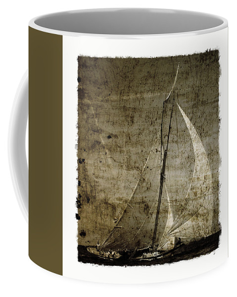 Grunge Coffee Mug featuring the photograph 40 Sailboat - With Open Wings In A Grunge Background by Pedro Cardona Llambias
