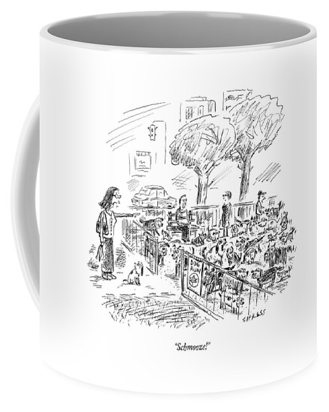 Social Coffee Mug featuring the drawing Schmooze! by David Sipress