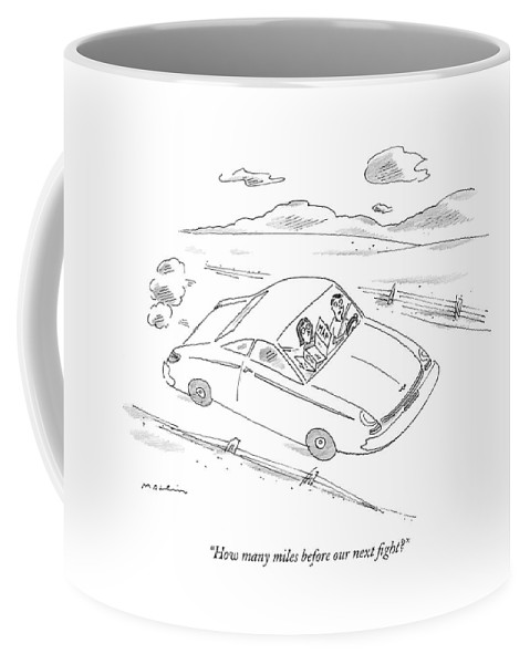 Autos Relationships Problems Word Play  (woman Passenger Reading Road Map Coffee Mug featuring the drawing How Many Miles Before Our Next Fight? by Michael Maslin