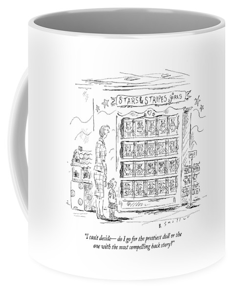 Toys Coffee Mug featuring the drawing I Can't Decide - Do I Go For The Prettiest Doll by Barbara Smaller