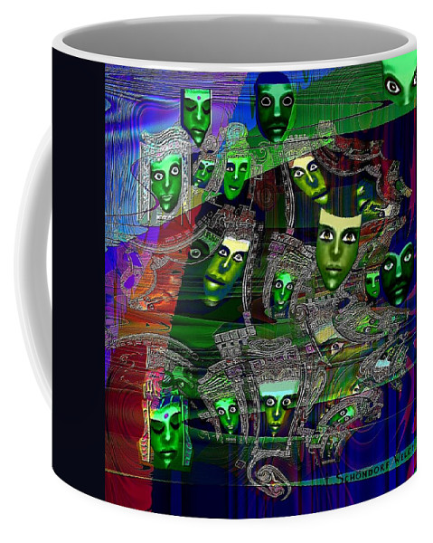 Surreal Coffee Mug featuring the painting 424 - Green Masks  by Irmgard Schoendorf Welch