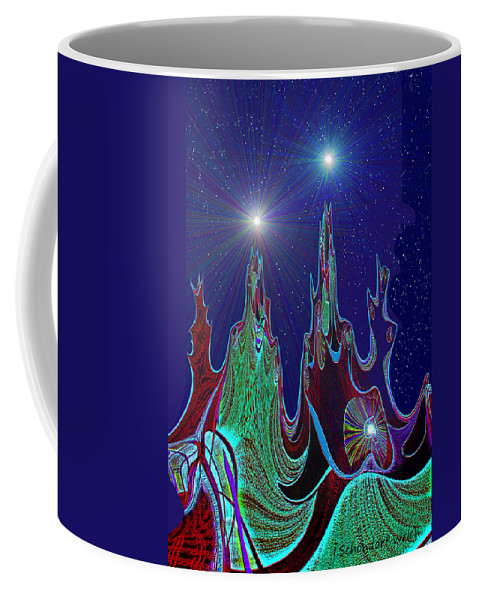 Abstract Coffee Mug featuring the painting 432 - Abstract Mountain Peaks by Irmgard Schoendorf Welch