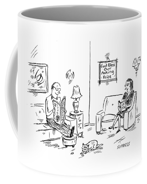 Real Estate Word Play Interiors Money Sell Buy Market Business Faith Move House Home Residence Live Real Estate  (couple In Living Room With A Sign On The Wall That Reads Coffee Mug featuring the drawing New Yorker January 23rd, 2006 by David Sipress
