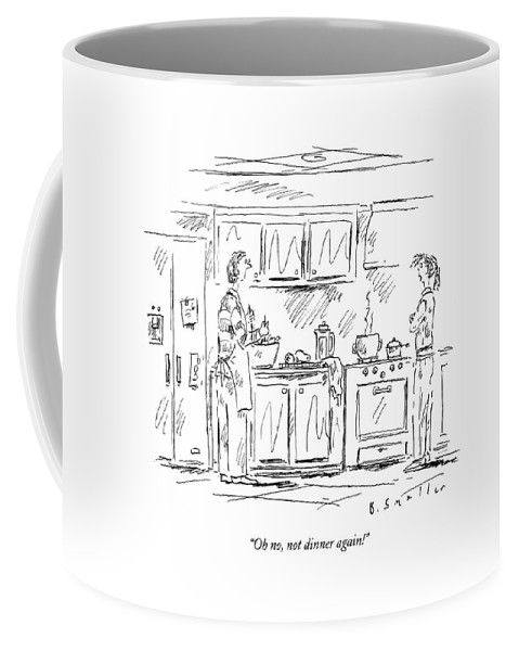 Cook Coffee Mug featuring the drawing Oh No, Not Dinner Again! by Barbara Smaller