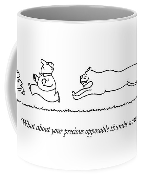 Bunny And Man Being Chased By Tiger.  (bunny And Man Being Chased By Tiger.) 122810 Cba Charles Barsotti Coffee Mug featuring the drawing What About Your Precious Opposable Thumbs Now? by Charles Barsotti