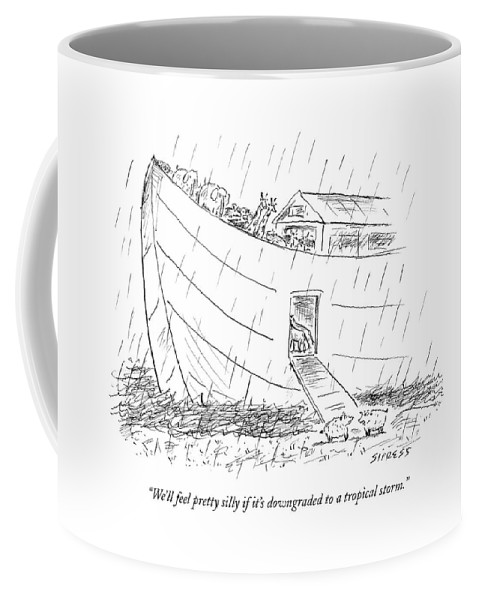 Nature Ancient History Weather Religion Bible Boat Incompetents  (sheep Talking Before Boarding Noah's Ark.) 121166 Dsi David Sipress Coffee Mug featuring the drawing We'll Feel Pretty Silly If It's Downgraded by David Sipress