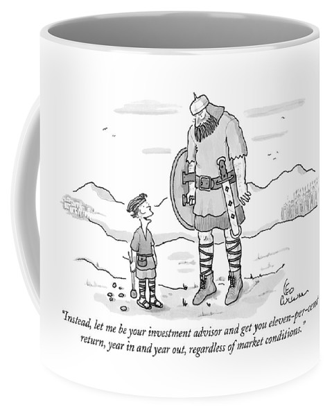 Vikings Coffee Mug featuring the drawing Instead, Let Me Be Your Investment Advisor by Leo Cullum