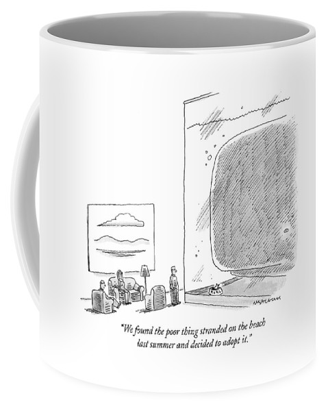 Swimming Coffee Mug featuring the drawing We Found The Poor Thing Stranded On The Beach by Mick Stevens