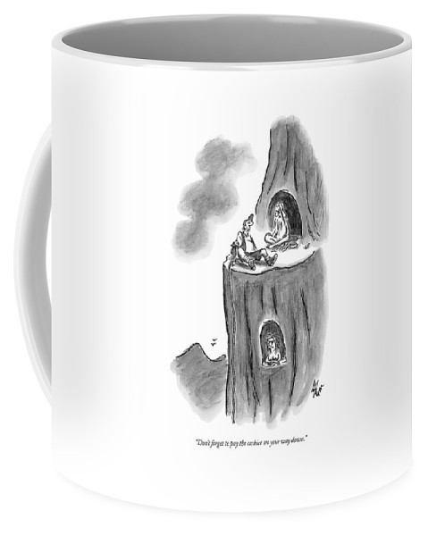 Guru Coffee Mug featuring the drawing New Yorker September 28th, 2009 by Frank Cotham