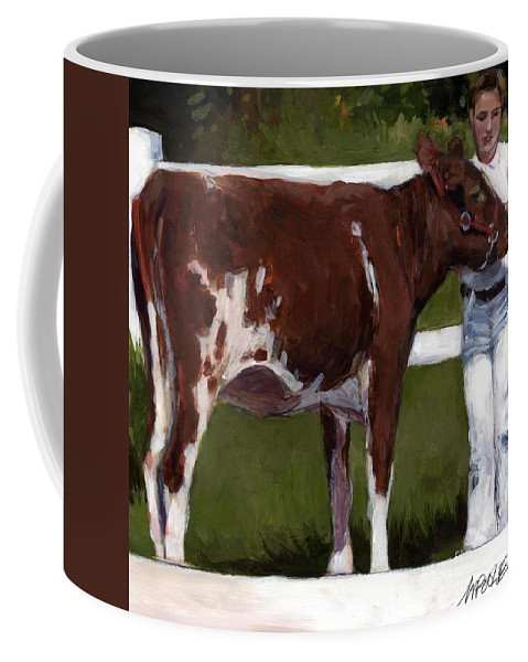 Cow Coffee Mug featuring the painting 4H by Molly Poole