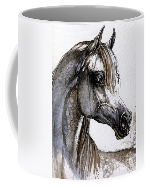 Horse Coffee Mug featuring the painting Arabian Horse by Angel Ciesniarska