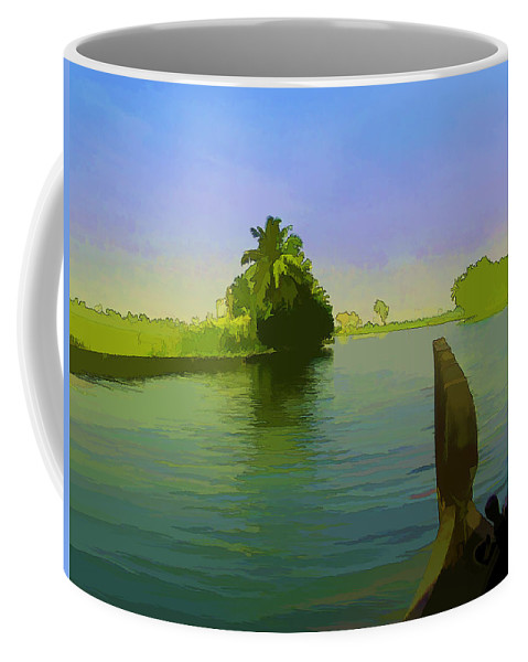 Backwater Coffee Mug featuring the digital art Captain Of The Houseboat Surveying Canal by Ashish Agarwal