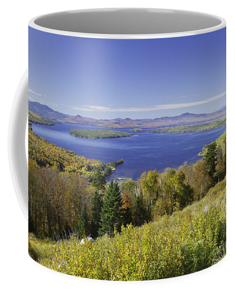 Landscape Coffee Mug featuring the photograph Colorful Fall Forest Near Rangeley Maine by Keith Webber Jr