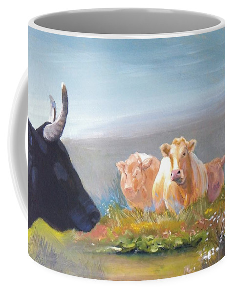 White Park Cattle Coffee Mug featuring the painting Cows by Mike Jory
