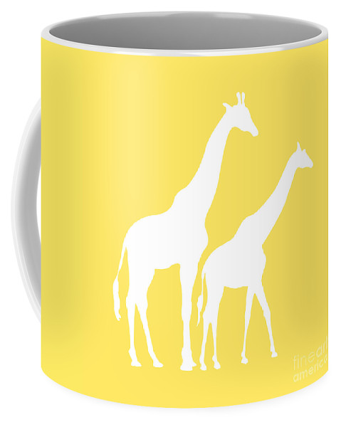 Graphic Art Coffee Mug featuring the digital art Giraffe In Yellow And White by Jackie Farnsworth