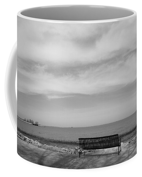 Art Coffee Mug featuring the photograph Lake And Park Bench by Frank Romeo
