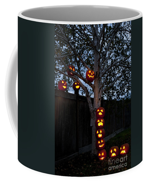 31st Coffee Mug featuring the photograph Pumpkin Escape Over Fence by Jim Corwin
