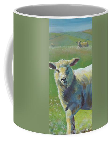 Farm Coffee Mug featuring the painting Sheep by Mike Jory