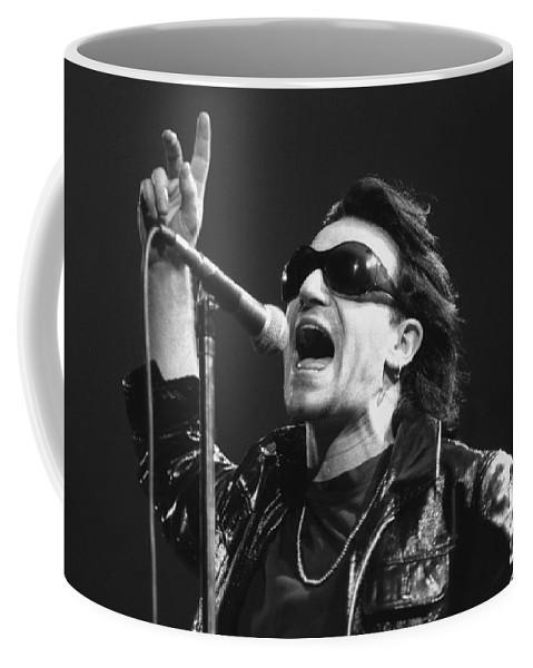 Singer Coffee Mug featuring the photograph U2 - Bono by Concert Photos