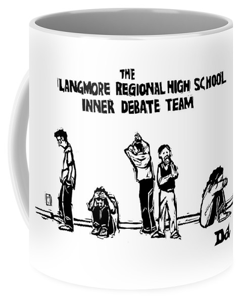 Education Problems Psychology Incompetents  (students Fretting Among Themselves.) 120725 Ddr Drew Dernavich Coffee Mug featuring the drawing The Langmore Regional High School Inner Debate by Drew Dernavich