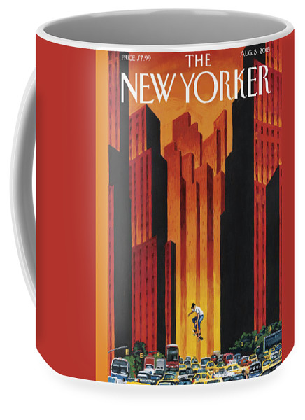 Skateboard Coffee Mug featuring the painting New Yorker August 3rd, 2015 by Mark Ulriksen