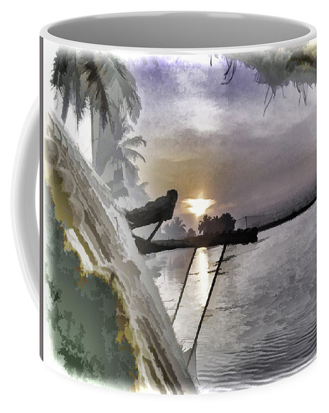 Alleppey Coffee Mug featuring the digital art View Of Sunrise From Boat by Ashish Agarwal