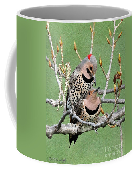 Mccombie Coffee Mug featuring the painting Yellow-shafted Northern Flickers by J McCombie