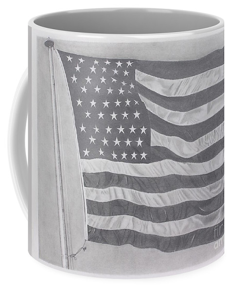 Flag Coffee Mug featuring the pastel 50 Stars 13 Stripes by Wil Golden