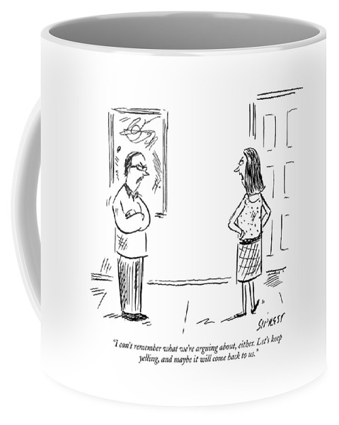 Relationships Problems Senior Moment  (couple Staring Angrily At Each Other.) 121729 Dsi David Sipress Coffee Mug featuring the drawing I Can't Remember What We're Arguing by David Sipress