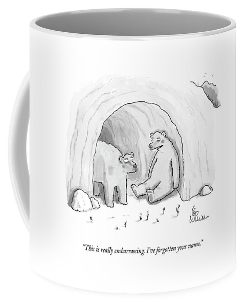 (two Bears In Cave.) 125050 Lcu Leo Cullum Marriage Nature Seasons Winter Sprint Relationships Couple Dating Coffee Mug featuring the drawing This Is Really Embarrassing. I've Forgotten by Leo Cullum