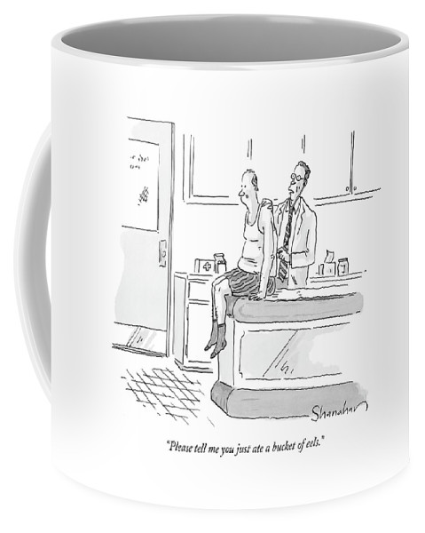 Health Coffee Mug featuring the drawing Please Tell Me You Just Ate A Bucket Of Eels by Danny Shanahan