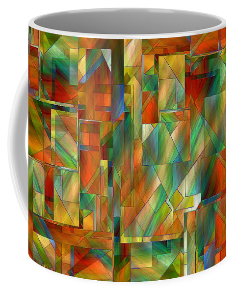 Abstract Coffee Mug featuring the painting 53 Doors by RC DeWinter