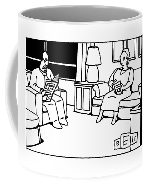 Newspaper Coffee Mug featuring the drawing He Died Alone With His Family by Bruce Eric Kaplan