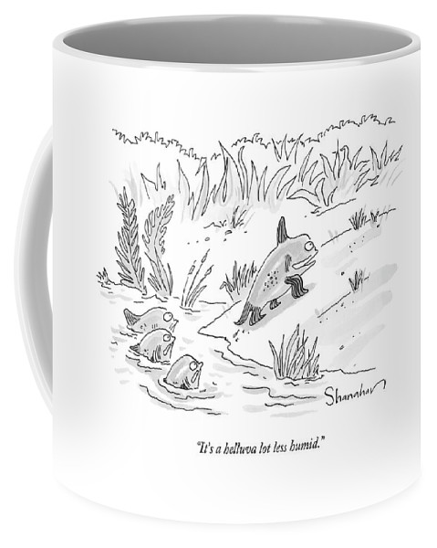 Evolution Coffee Mug featuring the drawing It's A Helluva Lot Less Humid by Danny Shanahan