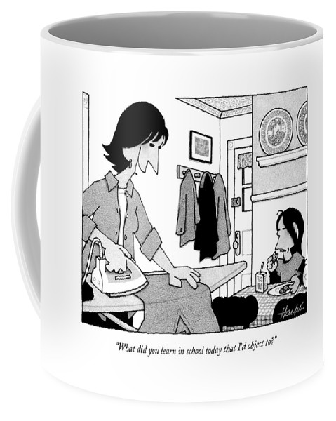 Word Play Education Elementary Problems Philosophy Politics Religion  (mother Talking To Her Child.) 121876 Wha William Haefeli Coffee Mug featuring the drawing What Did You Learn In School Today That I'd by William Haefeli