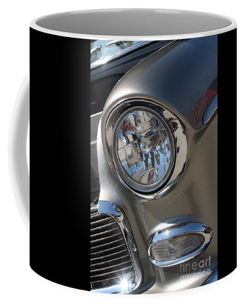 1955 Chevrolet Bel Air Coffee Mug featuring the photograph 55 Bel Air Headlight-8200 by Gary Gingrich Galleries