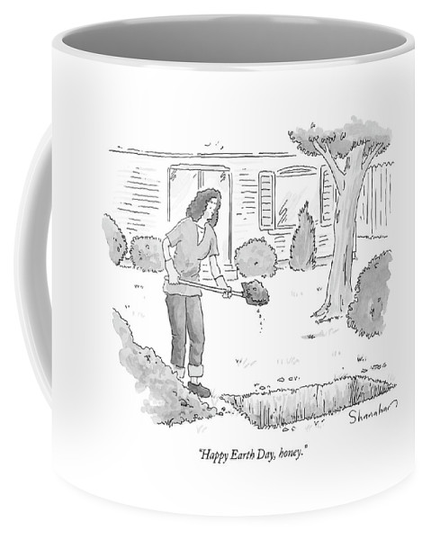 Death Relationships Problems Dead Bury Grave Backyard Murder Marriage Couple  (woman Filling A Grave In Her Front Yard.) 122216 Dsh Danny Shanahan Coffee Mug featuring the drawing Happy Earth Day by Danny Shanahan
