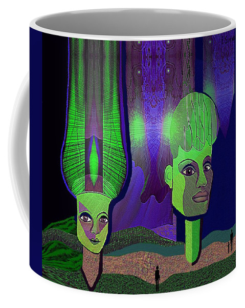 Irmgard Coffee Mug featuring the digital art 566 - Sphinxes In Fairyland by Irmgard Schoendorf Welch