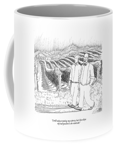 Drugs Science Hobbies Drinking Alcohol    (two Men Walking Through A Vineyard.) 122438 Pno Paul Noth Crystal Coffee Mug featuring the drawing I Still Enjoy Running My Winery by Paul Noth